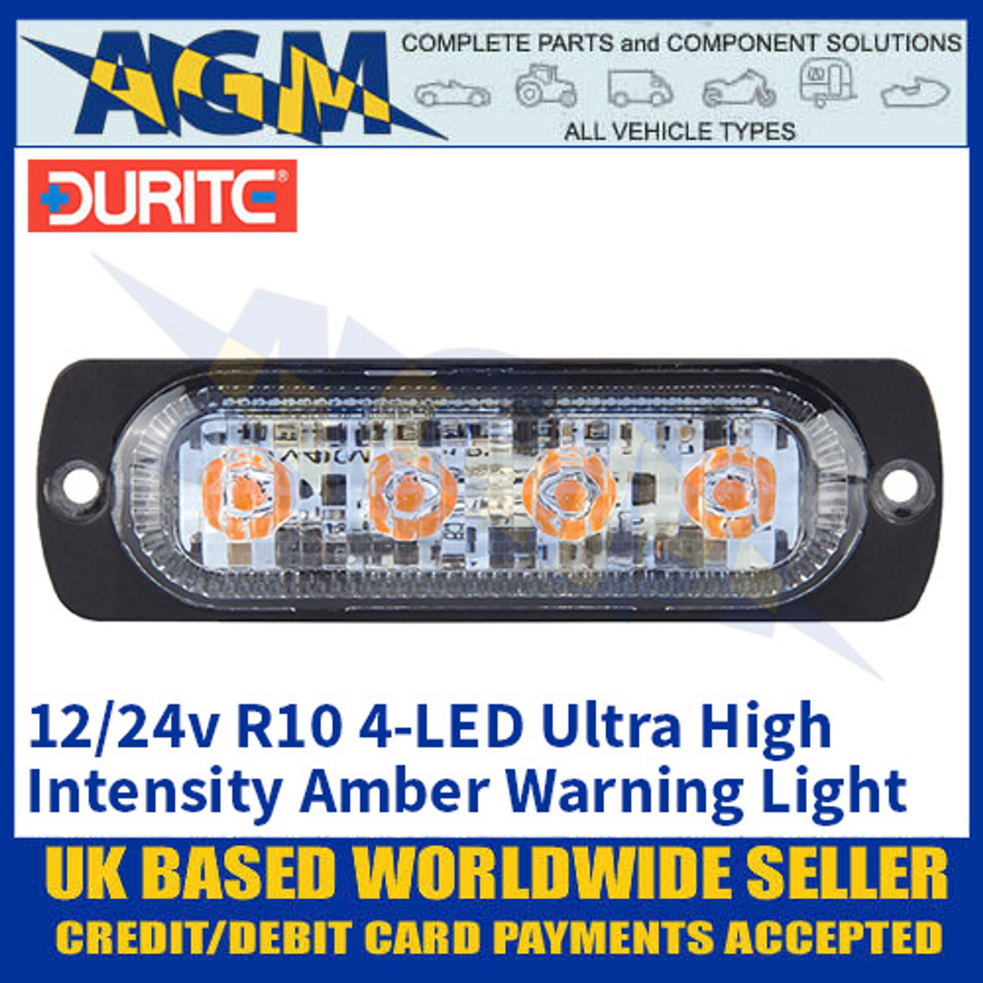 Durite 0-441-71 R10 4-LED High Intensity Amber Flashing Warning Light 12//24v
