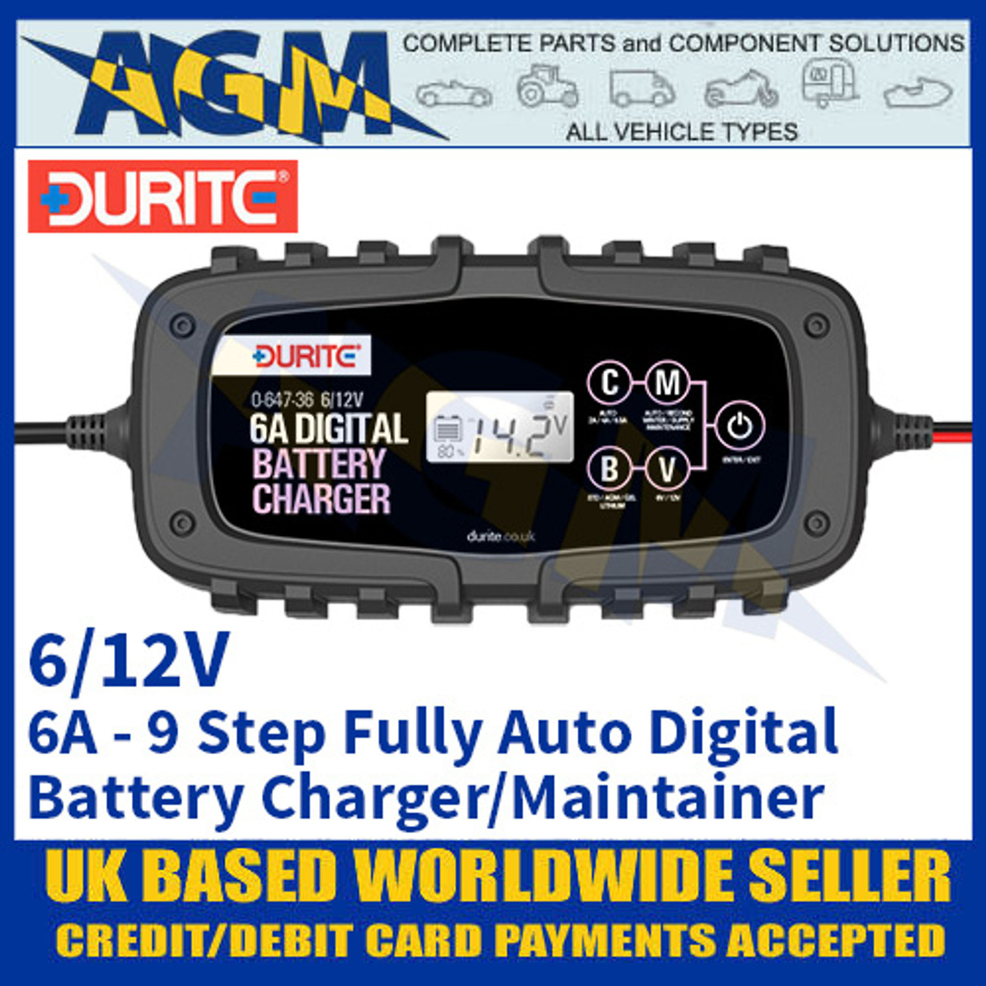 Durite 0 647 36 6 Amp 9 Step Fully Automatic Digital Battery Charger Maintainer 6 12v