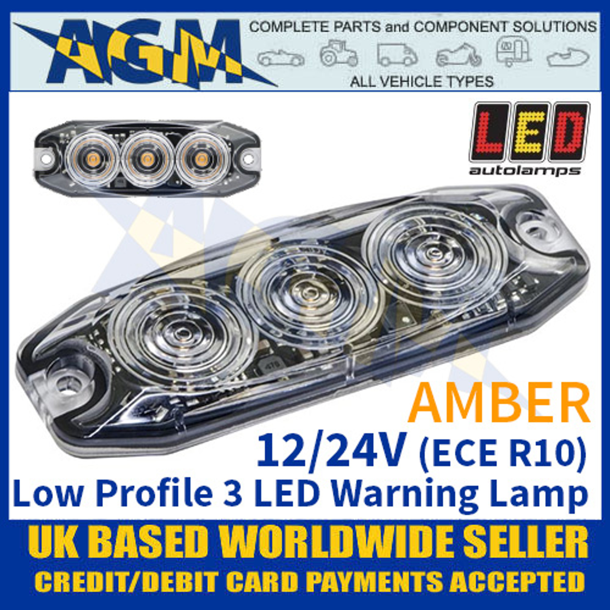 Amber 12//24V LED Autolamps LPR103DVA Low Profile 3-LED Warning Lamp