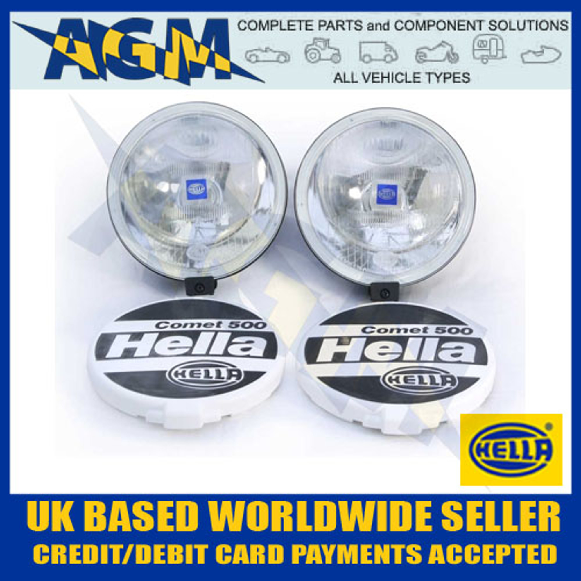Hella Comet 500 Driving/Spot Lamp Set With Two Lamps, Covers + ing on
