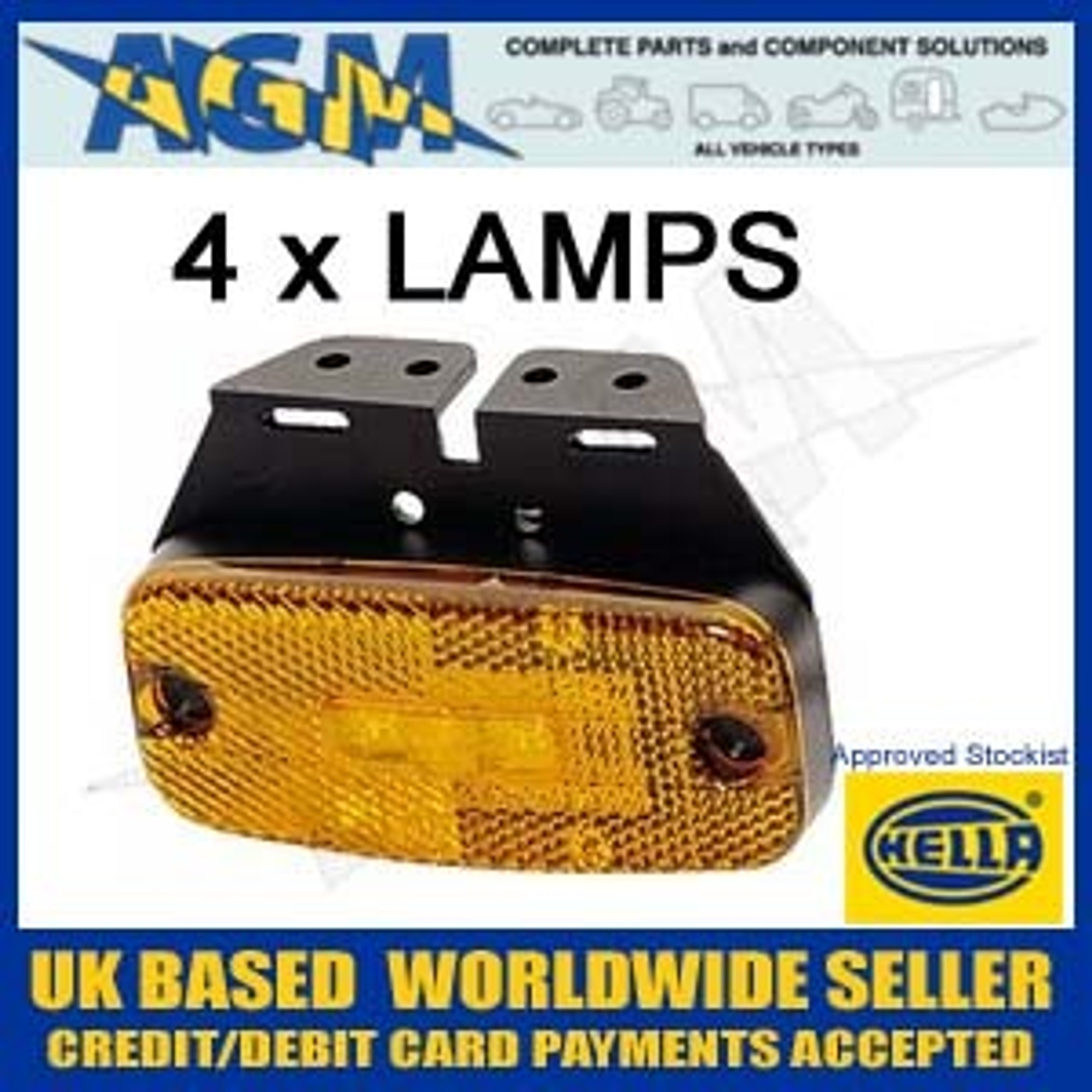 Lamps 4 Side Marker pack 2PS345600 Hella 077 LED 24v EDHY2IW9