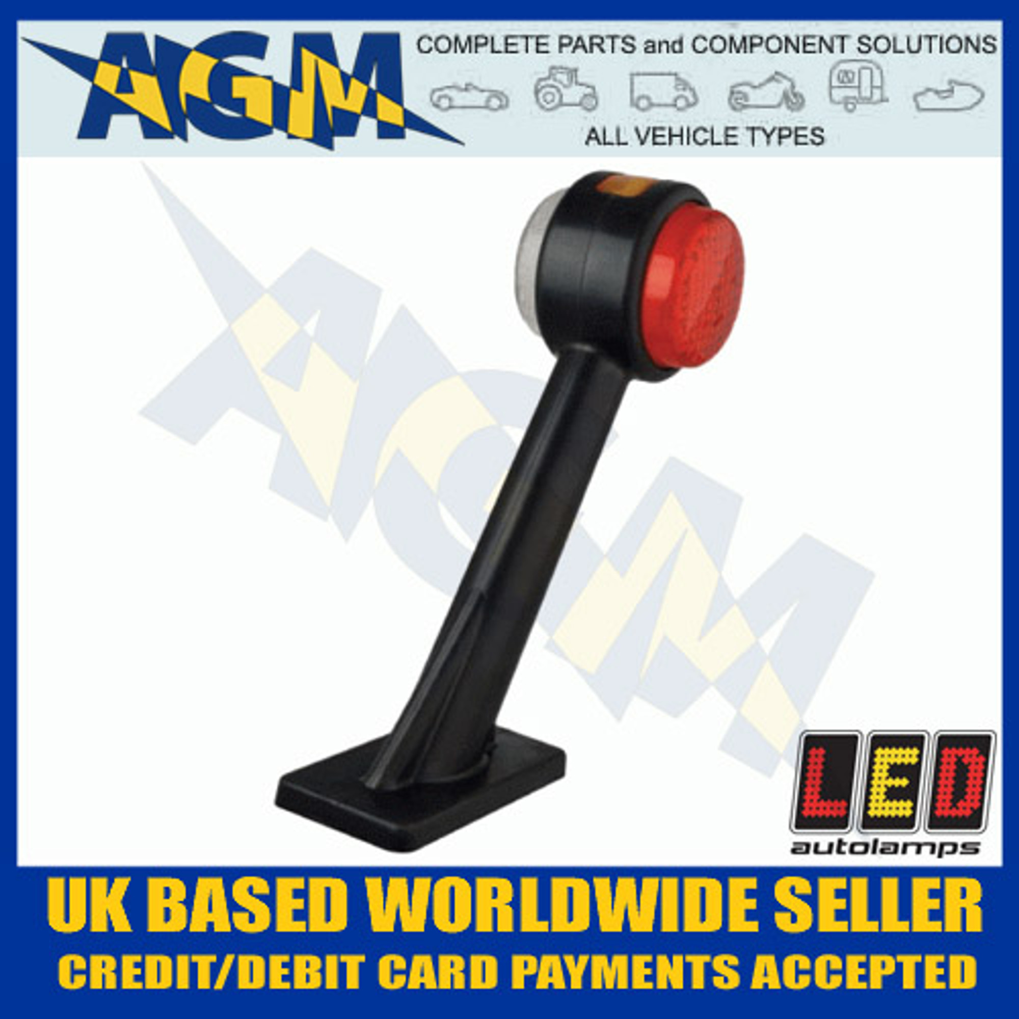 Led Auto-lamps Pair of End Outline Marker Lamps on Stalk Red//White//Amber 12//24v