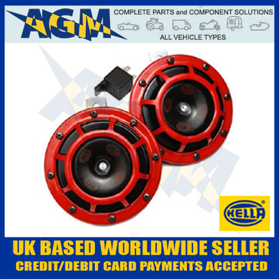 hella, upgrade, horn, kit, dual, tone, red,12v, relay, 3ag 003 399-801, 3ag003399801