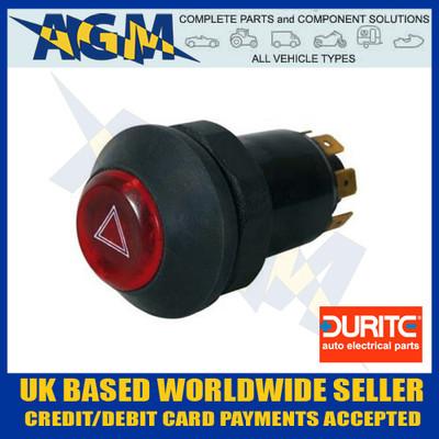 Durite 0-484-50 Illuminated Universal 12v Panel Mount Push Button Hazard Flasher Switch