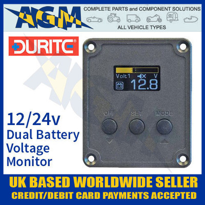 durite, 0-852-00, 085200, 12v, 24v, dual, battery, voltage, monitor