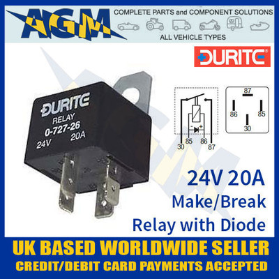 durite, 0-727-26, 072726, 24v, 20a, mini, make, break, relay, diode