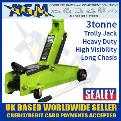 sealey, 1153cxhv, trolley, jack, tonne. long, chassis, heavy, duty