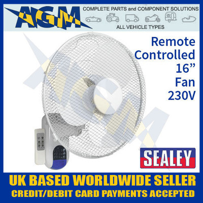 sealey, swf16wr, wall, fan, remote, control, 230v