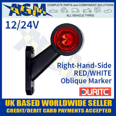 durite, 0-172-30, 017230, rh, red, white, oblique, led, outline, marker, lamp, 12v, 24v