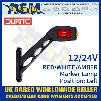 durite, 0-172-76, 017276, red, white, amber, oblique, led, outline, marker, lamp, 12v, 24v