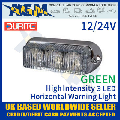 durite, 0-442-04, 044204, green, high, intensity, led, horizontal, warning, light, 12v, 24v