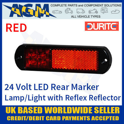 durite, 0-171-25, 017125, 24v, red, led, rear, marker, lamp, reflex, reflector