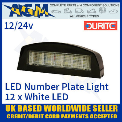 durite, 0-453-70, 045370, black, number, plate, light, lamp, led, 12v, 24v