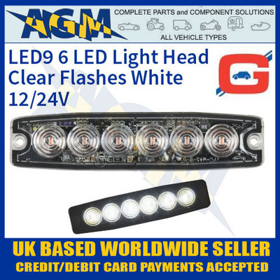led9w, led, white, strobe, hazard, warning, lamp, light, thin