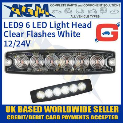 led9w, led, white, strobe, hazard, warning, lamp, light, thin