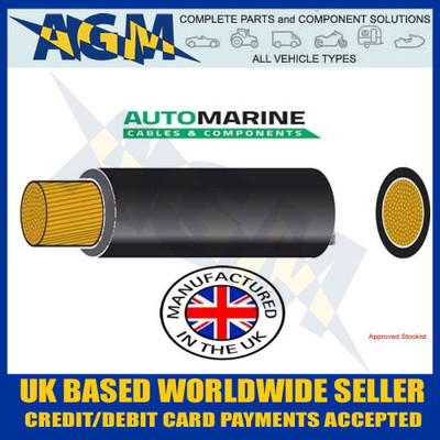 PVC25, Automarine, 170 amp cable, 10 metres, PVC, Tough, Black