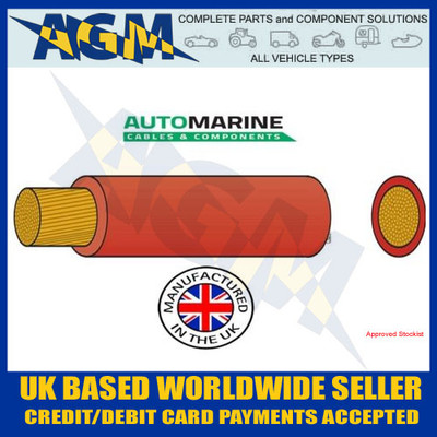 PVC25, Automarine, 170 amp cable, 10 metres, PVC, Tough, Red