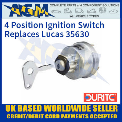 Durite 0-351-07 4 Position Ignition Switch Replaces Lucas 35630