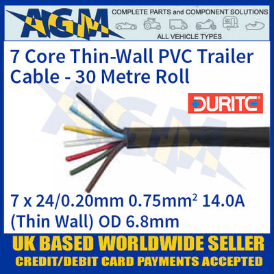 10 meter reel of 7 core trailer cable 14 amp thin wall multi core wire rh agmpartscomponents co uk