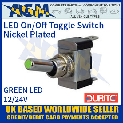 Durite 0-603-04 Green LED On/Off Metal Toggle Switch