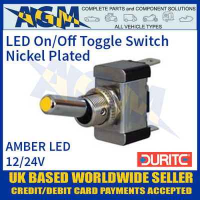 Durite 0-603-10 Amber LED On/Off Metal Toggle Switch
