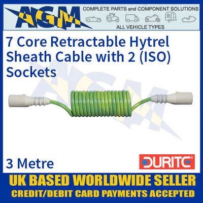 Durite 0-717-12 7 Core Retractable Hytrel Sheath Cable with 2 ISO Sockets