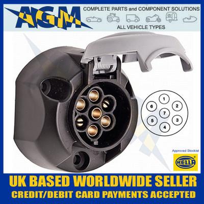 Hella, Towing, 12S, 7 Pin, 8JB001943-041, Socket, Trailer, Screw Terminals