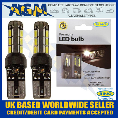 Ring Automotive 12v W5W 501 Type Capless LED Twin Bulb Pack