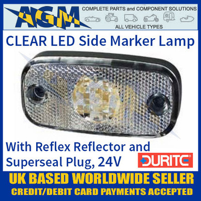 Durite 0-168-50 CLEAR/WHITE LED Side Marker Lamp