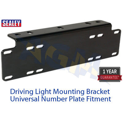 Sealey DLB01 Driving Light Mounting Black Bracket And Universal Number Plate