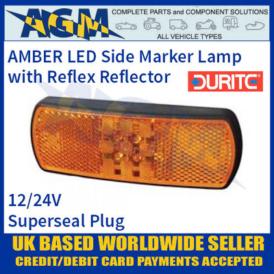 Durite 0-171-10 AMBER LED Side Marker Lamp with Reflex Reflector, Superseal Plug