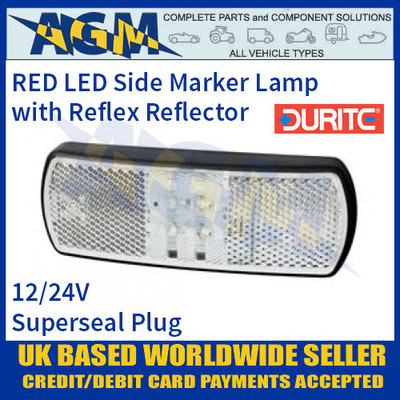 Durite 0-171-00 CLEAR/WHITE LED Side Marker Lamp with Reflex Reflector, Superseal Plug