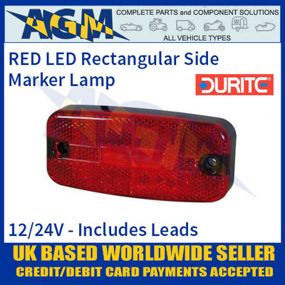 Durite 0-170-65 RED LED Side Marker Lamp with Leads, 12/24V