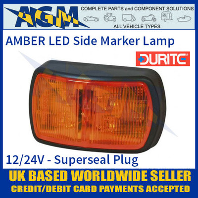 Durite 0-170-10 AMBER LED Side Marker Lamp with Superseal Plug, 12/24V