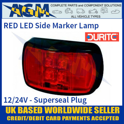 Durite 0-170-05 RED LED Side Marker Lamp with Superseal Plug, 12/24V