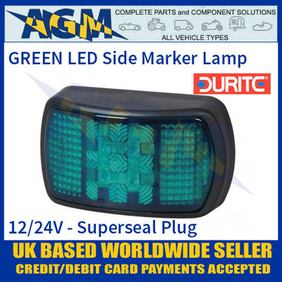 Durite 0-170-04 GREEN LED Side Marker Lamp with Superseal Plug, 12/24V