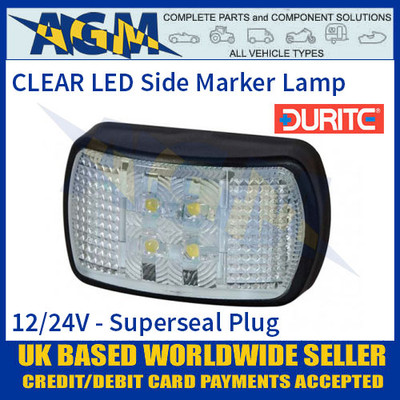 Durite 0-170-00 CLEAR/WHITE LED Side Marker Lamp with Superseal Plug, 12/24V