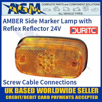 0-169-60 AMBER LED Side Marker Lamp with Reflex Reflector, 24V