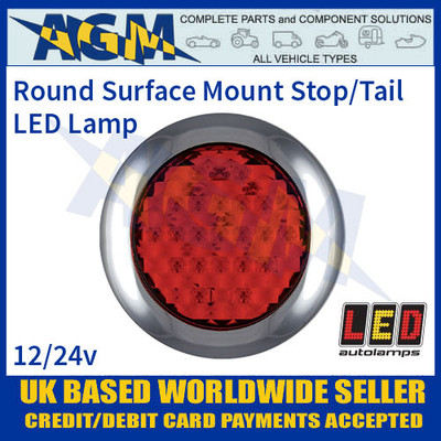 LED Autolamps 145RME Round Surface Mount Stop/Tail Lamp, 12-24v