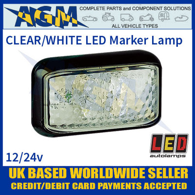 35WME CLEAR/WHITE 4 LED Marker Lamp, Multivolt 12-24 Volt with 40cm Hardwired Cable