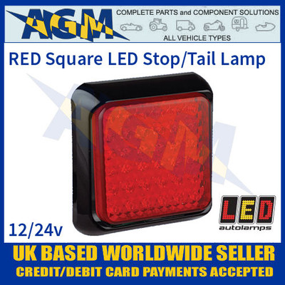 LED Autolamps 125RME Red Square Stop/Tail Lamp/Light, 12-24v