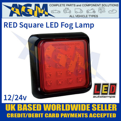 LED Autolamps 125FME Red Square Fog Lamp/Light, 12-24v