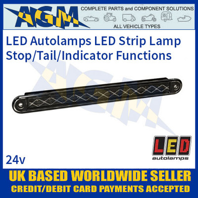 LED Autolamps 235BST124 Stop/Tail/Indicator Slimline Strip Lamp, 24v