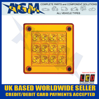 led, autolamps, 280am, square, amber, indicator, lamp, 12-24v