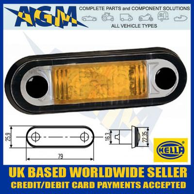 hella, 2xs959650001, amber, led, marker, styling, lamp