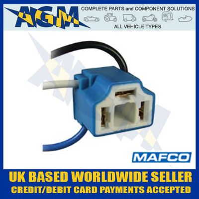 mafco, bh004, h4, ceramic, headlight, bulb, holder, connector, 100mm, angled, leads