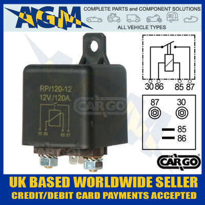 cargo, 160720, 12v, 120a, heavy, duty, make, break, relay