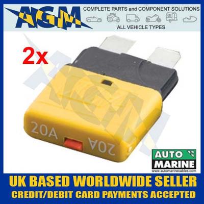 automarine, scb20, circuit, breaker, 20 amp, yellow, blade, fuse