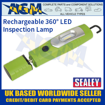LED3602G Rechargeable 360° Inspection Lamp 7 SMD + 3W LED Green Lithium-ion