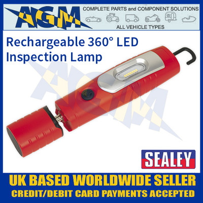 LED3602R Rechargeable 360° Inspection Lamp 7 SMD + 3W LED Red Lithium-ion